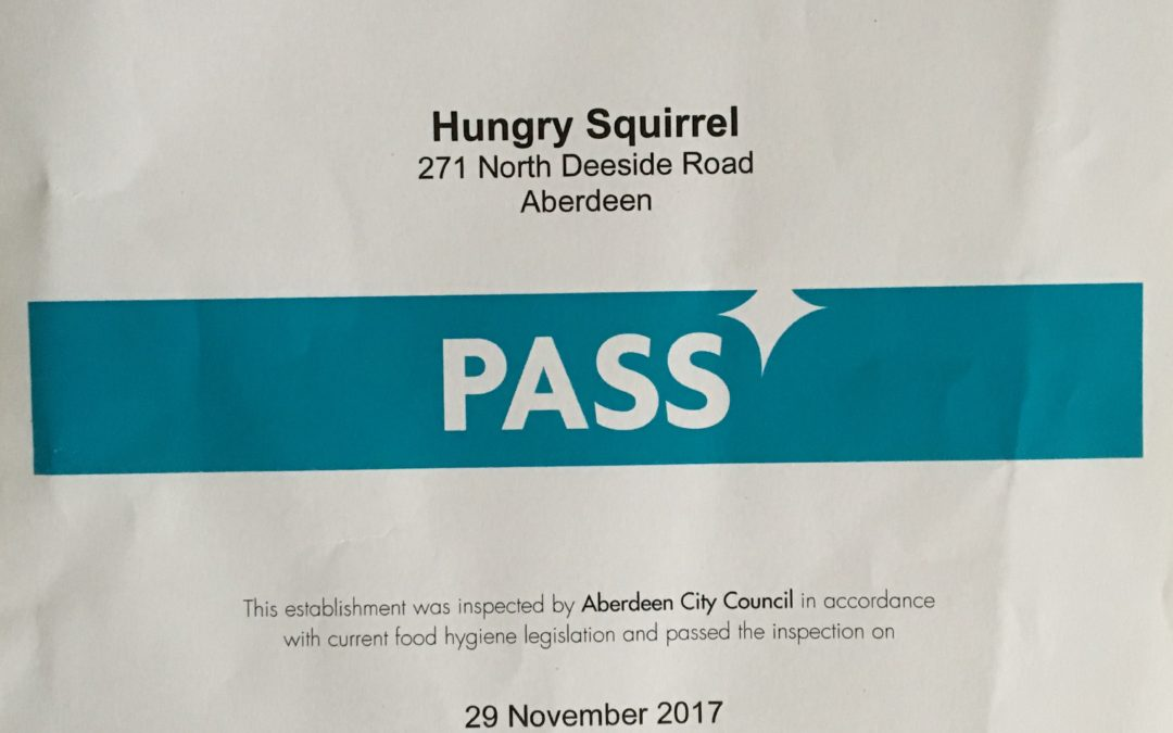 29 November 2017 – Environmental Health Pass received